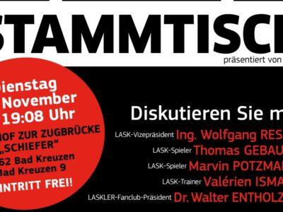 LASK-Stammtisch in Bad Kreuzen: 19. November, 19.08 Uhr, GH Schiefer